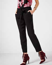 Modern crepe paper bag pant with sash