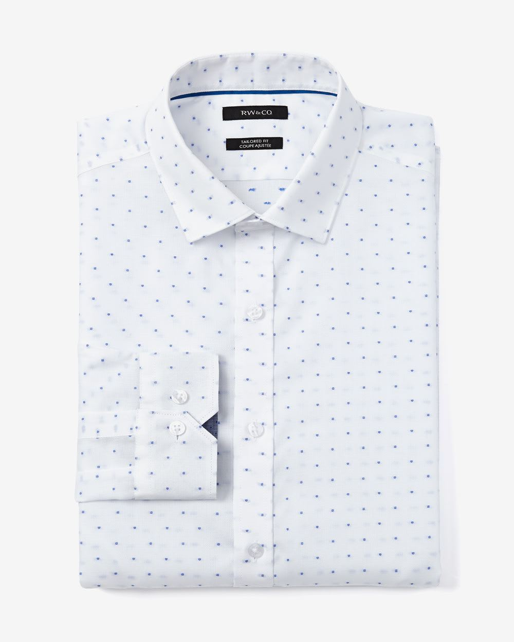 Tailored fit dotted dress shirt rw co for Tailoring a dress shirt