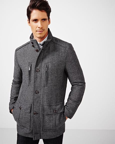 Two-tone wool-blend jacket