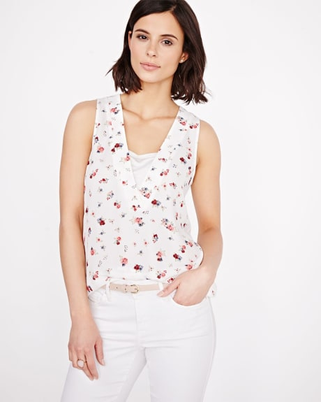 Printed Sleeveless V-neck T-shirt