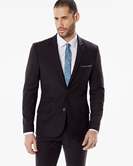 Miles black wool-blend blazer - Tall