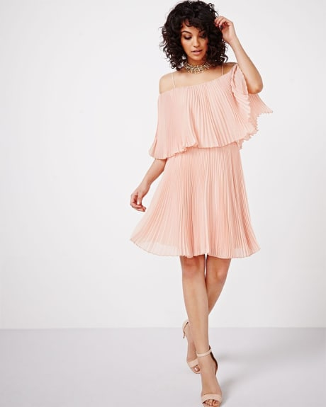 Cold Shoulder Pleated Dress by ABS