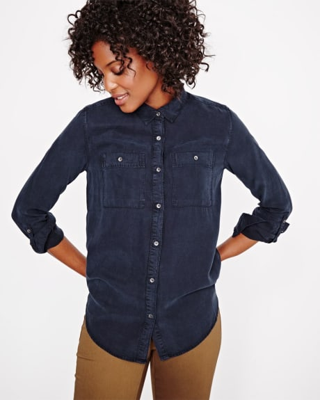 Dark Denim Lyocell Blouse