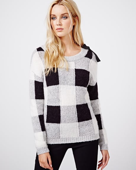 Brushed check sweater