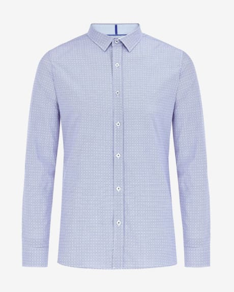 Tailored fit micro vichy jacquard shirt