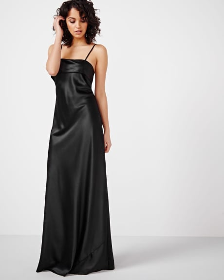 Black Satin Maxi Dress by ABS