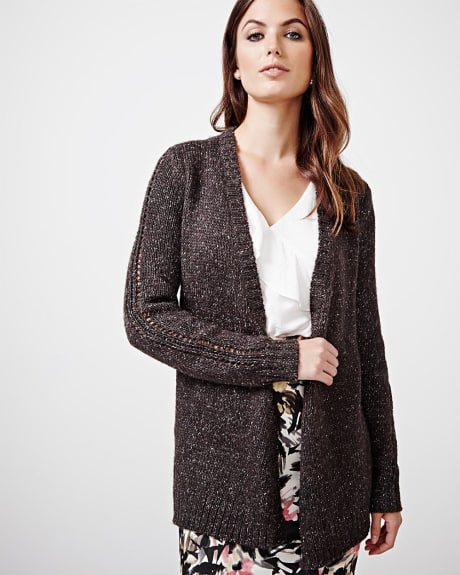 Fancy stitch open cardigan