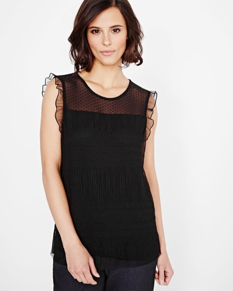Flounced sleeve t-shirt with mesh overlay