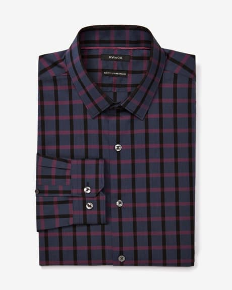 Slim fit dark check dress shirt