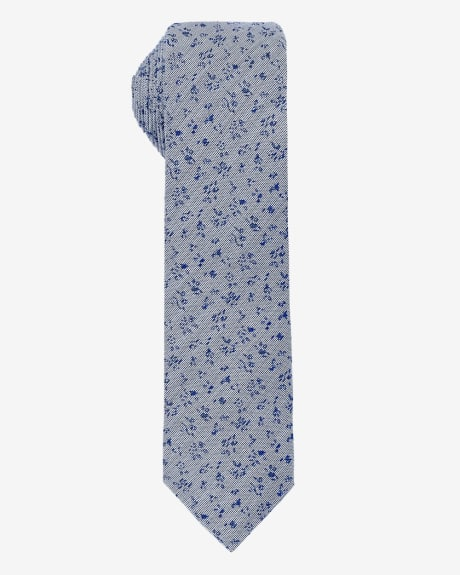 Skinny denim blue tie with flowers