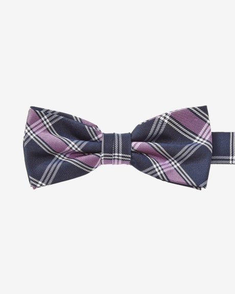 Classic blue and pink check bow tie