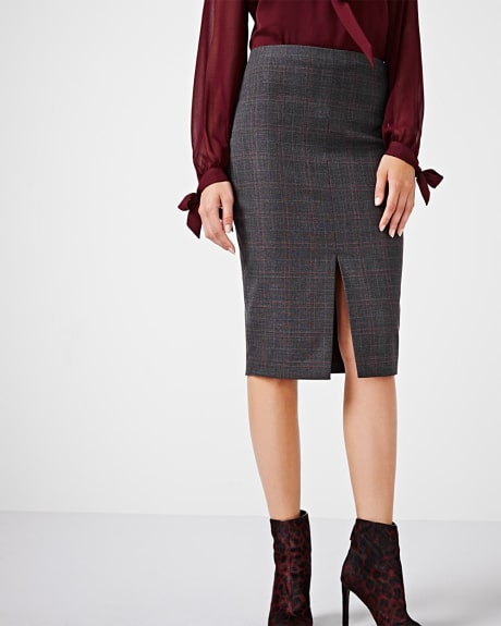 Everyday stretch plaid pencil skirt