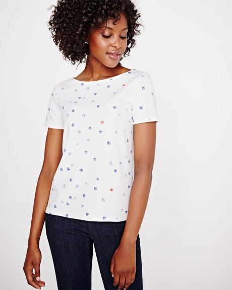 Printed crepe t-shirt with low back