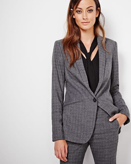 Long everyday stretch blazer in prince of wales check