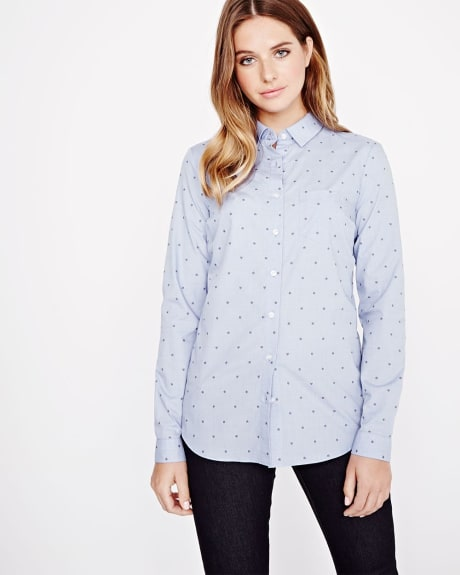 Vichy flower long sleeve blouse