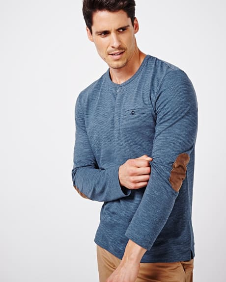 Striped Henley T-shirt with elbow patches