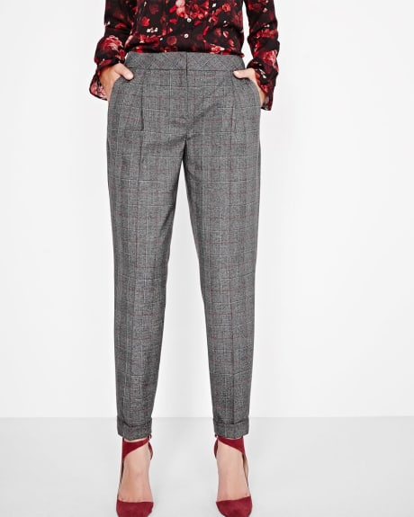 Cuffed windowpane ankle pant
