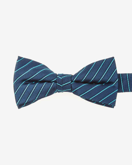 Skinny teal thin stripe bow tie