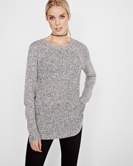 Marled tunic sweater with side zippers