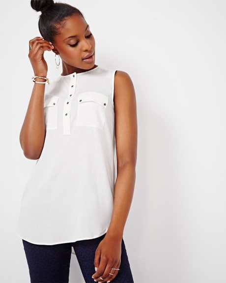 Sleeveless Challis Blouse