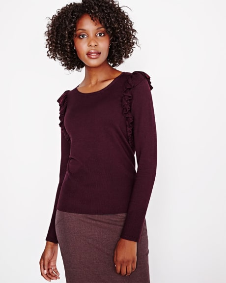 Sweater with ruffled shoulders