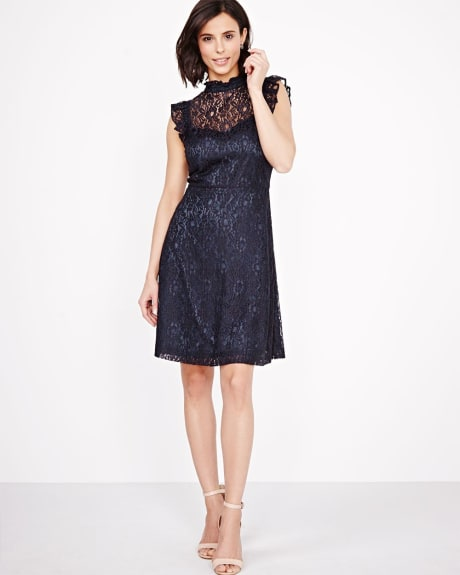 Lace Fit and Flare dress with ruffles