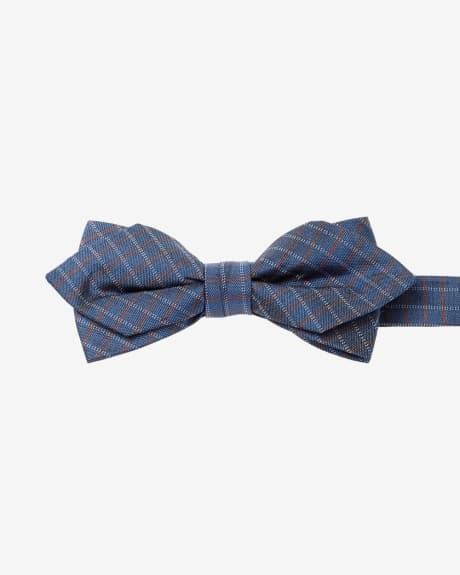 Pointy orange grid bow tie