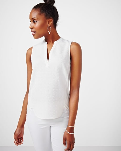 Textured Sleeveless T-Shirt.Off White.XXS