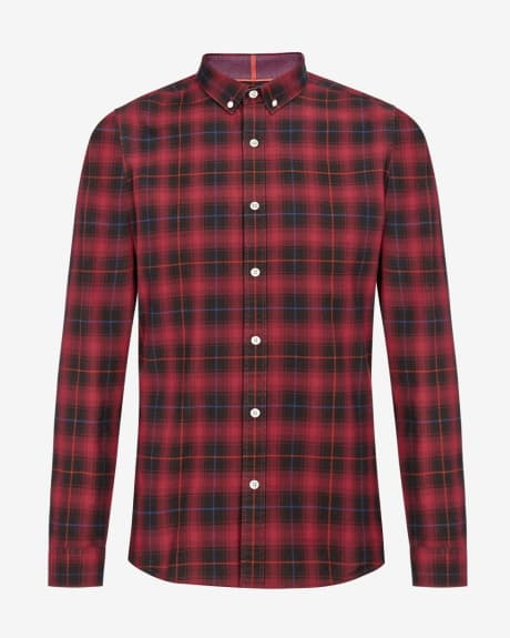 Brushed red check Slim fit shirt
