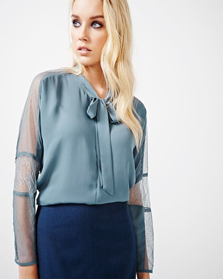 Chiffon blouse with lace and bow