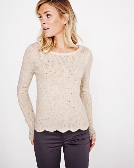 Nep Sweater with scalloped hem