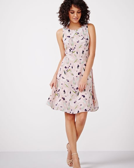 Pastel print fit and flare dress