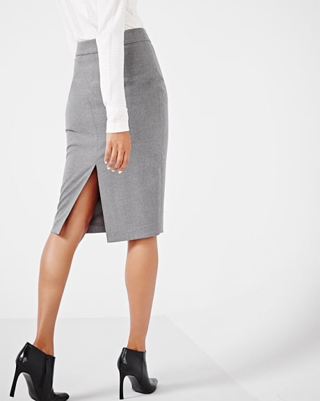 Stretch flannel pencil skirt