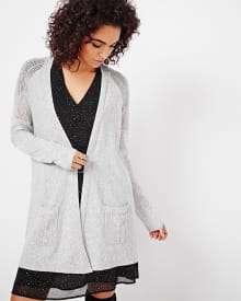 Open cardigan with open stitching