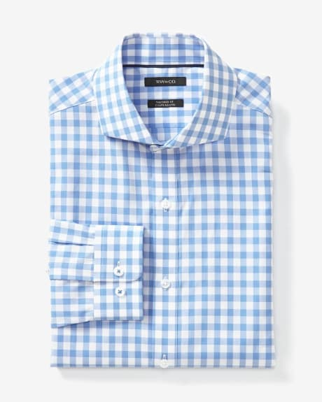 Tailored fit blue gingham dress shirt