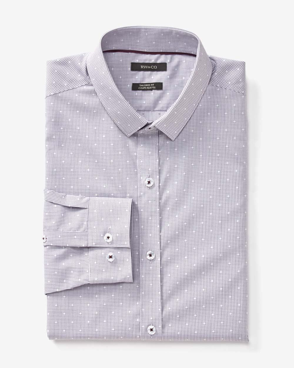Tailored Fit Dobby Micro Check Dress Shirt Rw Co