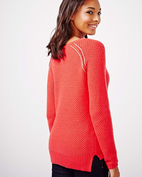 Cashmere-Like Fancy Stitch Sweater