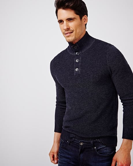 Two-tone mock neck sweater
