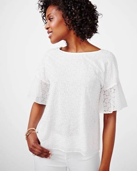 Dropped Shoulder Eyelet Blouse