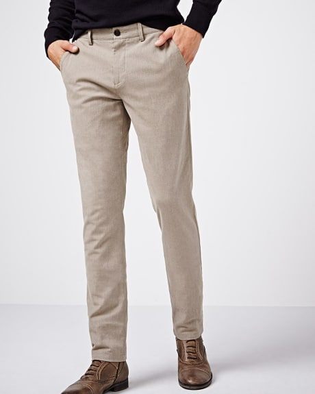 Slim fit two-tone cotton pant