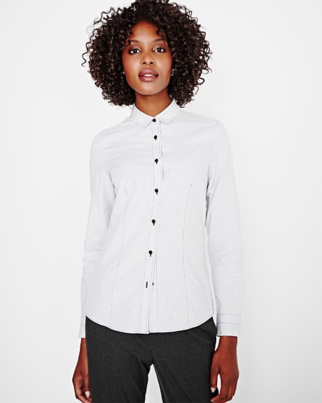 Fitted dotted buttoned-down blouse