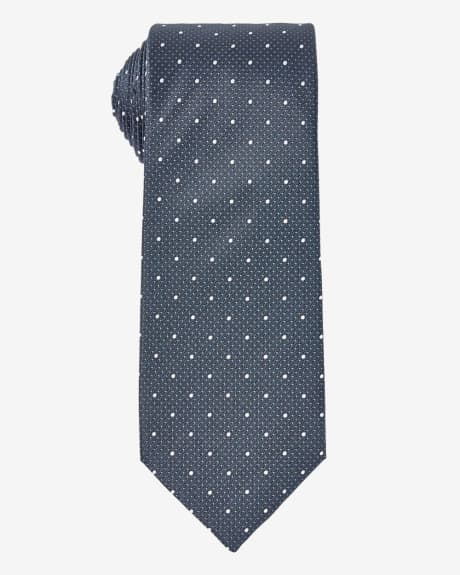 Wide grey tie with polka dots