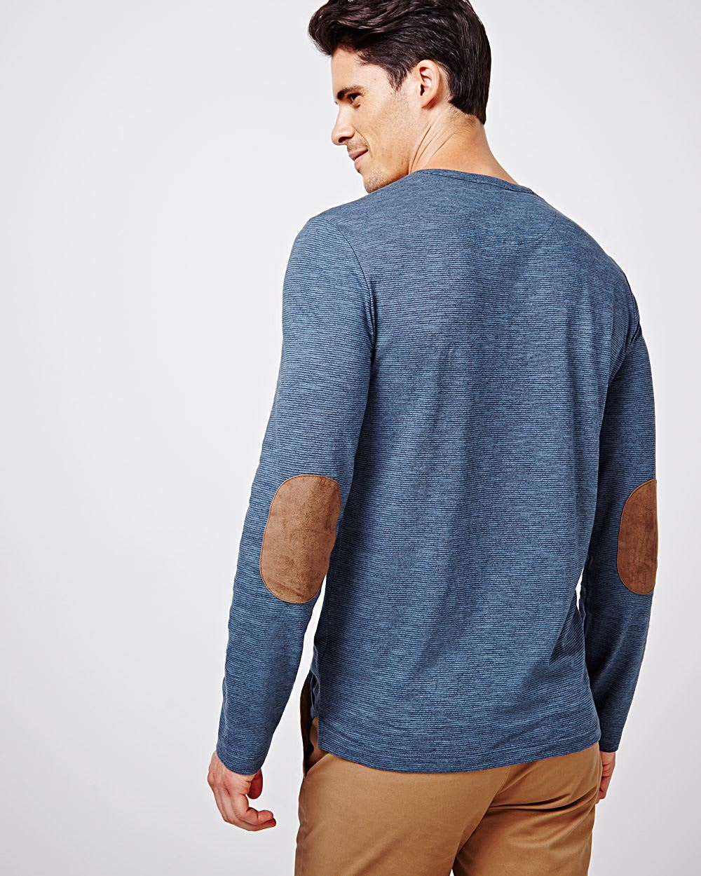 Striped Henley T Shirt With Elbow Patches Rw Co