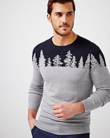 Jacquard tree sweater