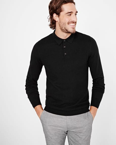 Henley polo sweater