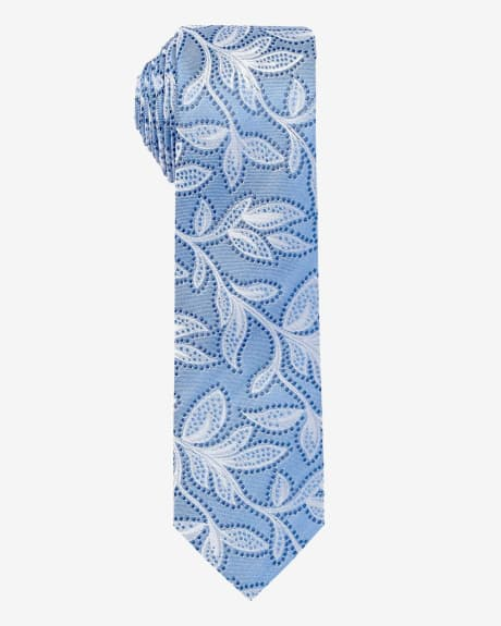 Skinny Light Blue tie with Flowers