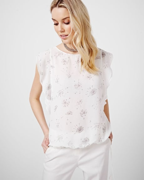 Printed short sleeve blouse with flounce