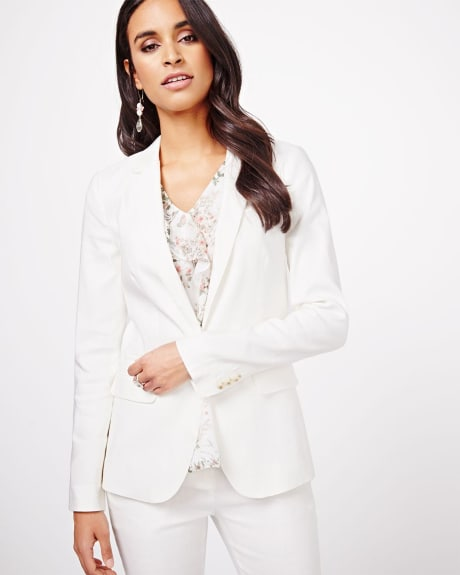 White Stretch linen blazer