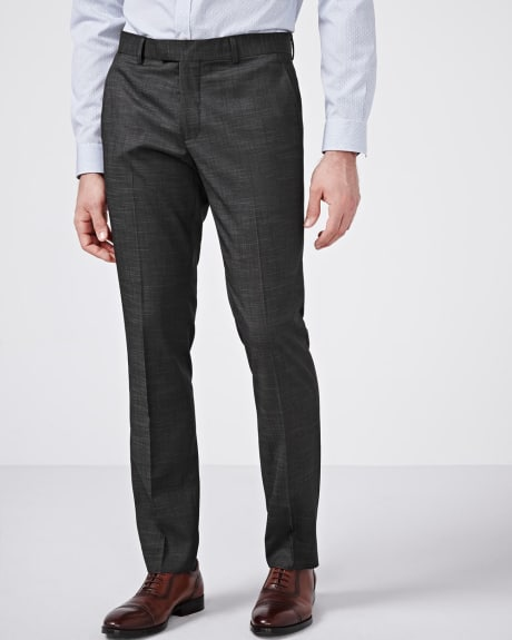 Slim Fit Black Slub Pant - Tall
