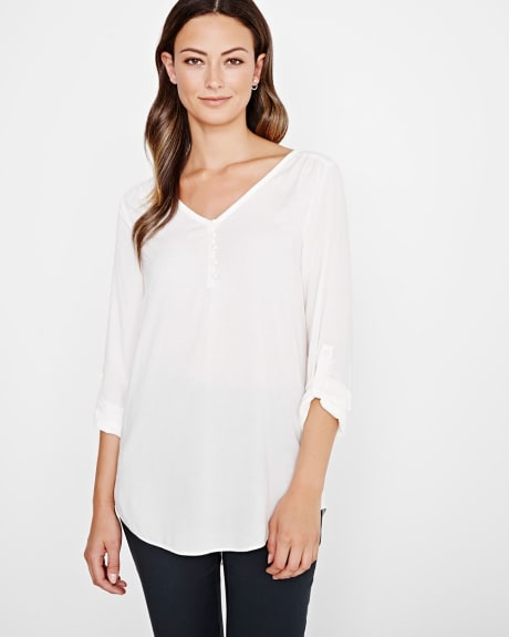 Stretch challis blouse with roll-up sleeves